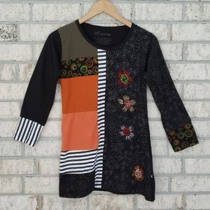 Leopards & Roses Cotton Mixed Print 3/4 Sleeve Top